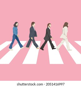 London, United Kingdom. Beatles  Abby Road illustration on pink background.