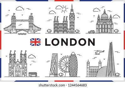 London, United Kingdom. Big Bang, Churches, Modern buildings and city sights. Vector illustration