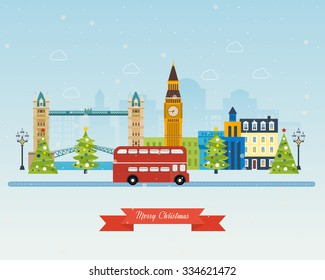 London, United Kingdom, Big Ben tower flat icons design travel concept. Cute invitation card with winter city life and space for text. Merry Christmas greeting card design. Vector illustration.