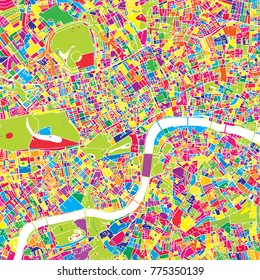 London, United Kingdom, colorful vector map.  White streets, railways and water. Bright colored landmark shapes. Art print pattern.