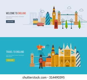 London, United Kingdom flat icons design travel concept. London travel. Historical and modern building. Vector illustration