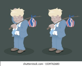 London, United Kingdom - October 23 2019: Hobo Bo-Jo - A dishevelled Boris Johnson packs up to leave the EU