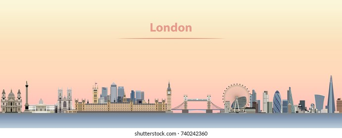 London vector city skyline at sunrise