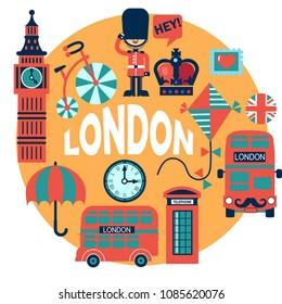 London vector color circle badge