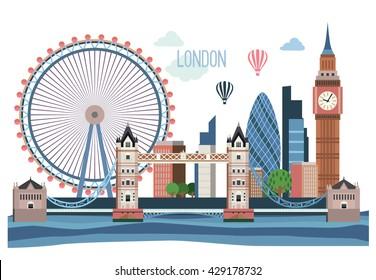London vector flat  landscape .