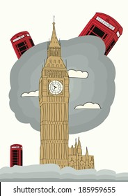 London vector illustration with big ben and red phone box. Tourism concept with historic building. Image for presentation, banner, placard and web site.