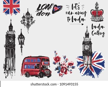 London vector illustration collection. Retro british watercolor grunge graphic for textile design or t-shirt print. Isolated elements on white background