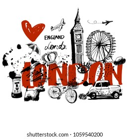 London, vector illustration, each element on a separate layer.