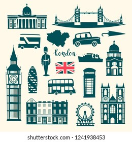 London vector illustration set. Cartoon United Kingdom skyline silhouette icons. London tourist landmarks, contour. Tower bridge art. London symbols red phone booth and bus