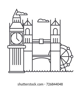 london vector line icon, sign, illustration on background, editable strokes