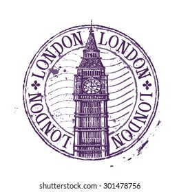 London vector logo design template. Shabby stamp or England, Britain, UK, Big Ben icon