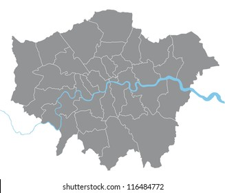 London vector map illustration with all boroughs on separate layer