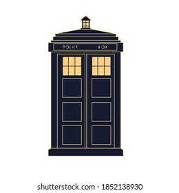 London, vector of an old blue London police box. City