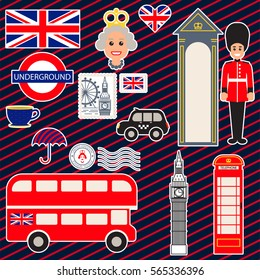 London vector traditional symbols. Travel landmark and object icons. Outlined stickers.