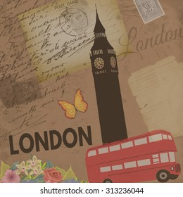 London vintage poster on nostalgic retro background with old post cards, letters and Big ben tower , vector illustration