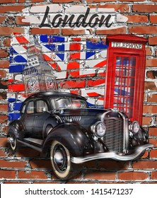 London vintage poster with retro car,Big Ben and red  phone booth on brick wall background.