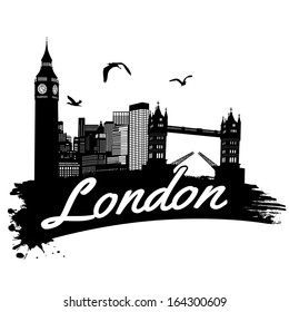 London in vintage style poster, vector illustration