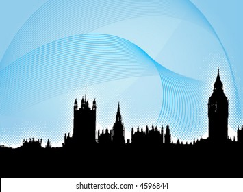 London - Westminster Abby - vector poster - blue gradient background with lines