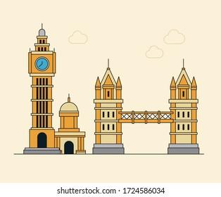 London's Big Ben illustration set. city, bridge, building, architecture Vector drawing. Hand drawn style.