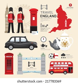 London,United Kingdom Flat Icons Design Travel Concept.Vector