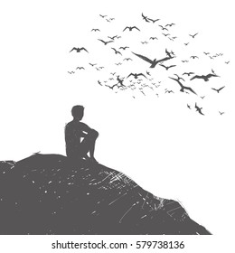 lone man sits on a hill and thought. Around the birds fly