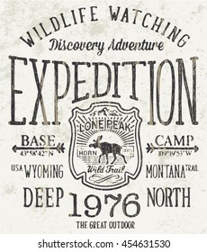 Lone Peak wild trail expedition, vector artwork for boy clothing