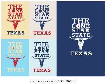 the lone star star nickname texas with longhorn and small texas map.