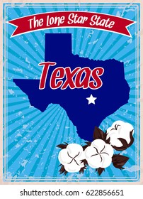The Lone Star State. Stylized image of cotton bolls. Map of the state of Texas on a blue striped background. Deep South. Style of the vintage poster. Universal print. Vector illustration EPS 8