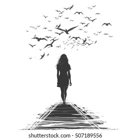 A lone woman walks away, the birds circling over her head