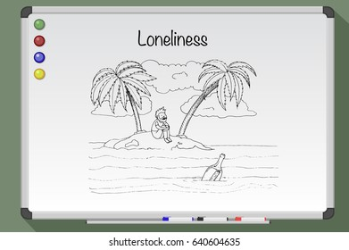 Loneliness concept. Desert tropical island. Hand drawn vector stock illustration. Black and white whiteboard drawing