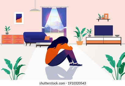 Loneliness at home - Sad woman sitting alone on floor, suffering from depression and feeling lonely. Isolation and staying home unwillingly concept. Vector illustration.