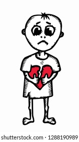 Loneliness and unrequited love concept. A sad little boy holds a huge broken heart. Vector illustration.