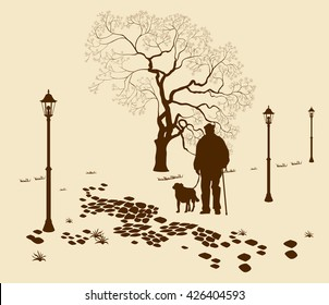 Loneliness, a walk in the park man with a dog