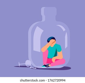 Lonely alcoholic man trapped in a bottle. Alcohol addiction metaphor. Isolated on purple. Flat Art Vector Illustration