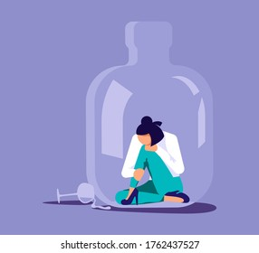 Lonely alcoholic woman trapped in a bottle. Alcohol addiction metaphor. Isolated on purple. Flat Art Vector Illustration