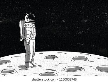 Lonely astronaut in spacesuit standing on surface of Moon and looking at space full of stars. Cosmonaut exploring planet or celestial object during mission. Monochrome hand drawn vector illustration