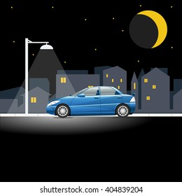 Lonely blue colored car on an empty night street. Lamppost shining in the night above a vehicle on a city street. Digital vector illustration.