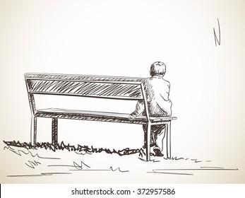 Lonely boy sitting on bench, Hand drawn sketch