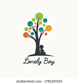 lonely boy tree logo abstract