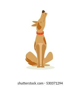 Lonely Brown Pet Dog Howling, Animal Emotion Cartoon Illustration
