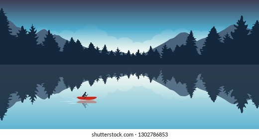lonely canoeing adventure with red boat forest landscape vector illustration EPS10