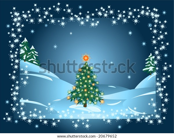 Lonely Christmas.Lonely Christmas Tree Forest Vector Illustration Stock