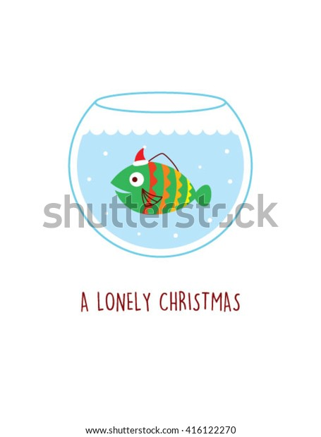 a lonely fish swim in the water pot in christmas with santa claus hat. Fish vector illustration. Fish graphic design.