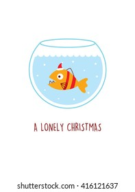 a lonely fish in a water pot vector illustration. a lonely christmas. cute fish cartoon with santa claus hat in a water pot.