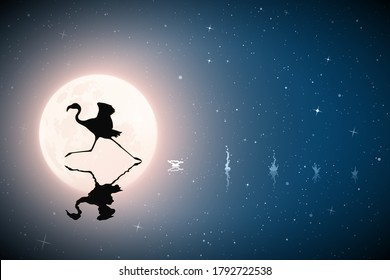 Lonely flamingo running on lake on moonlight night. Elegant bird silhouette and splashes on water. Full moon in starry sky. Vector illustration for use in polygraphy, textile, design, interior decor