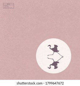 Lonely flamingo running on lake. Elegant bird isolated silhouette reflected in water. White sun on pink texture background. Vector illustration for use in polygraphy, textile, design, interior decor