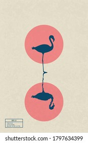 Lonely flamingo standing in lake. Elegant bird isolated silhouette reflected in water. Red sun on yellow texture background. Vector illustration in sumie style for use in polygraphy, textile, design