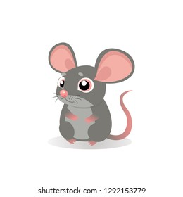 Lonely Gentle Mouse. Fancy Little Mice Vector Illustration. Cute Sitting Mouse In Cartoon Style. Grey Mice On A White Background.