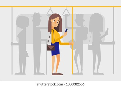 Lonely girl in a crowd on  the subway. People on public transport. Flat style vector illustration.