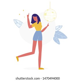 Lonely Girl in Night Club Flat Vector Illustration. Girl Dancing under Disco Ball, Woman Having Fun Alone Cartoon Character. Fashionable Teenager Wearing Casual Clothes, Posing for Photo